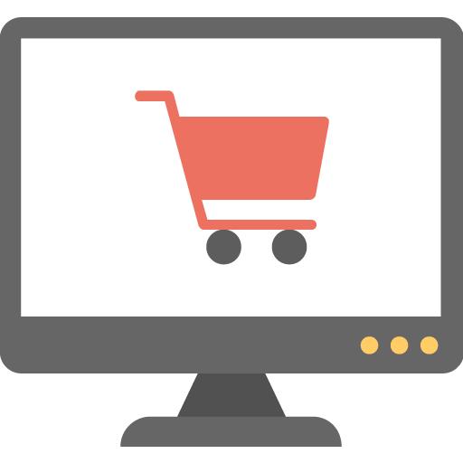 flat icon of computer screen with a shopping cart