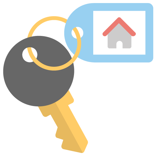 Flat icon of key from the house