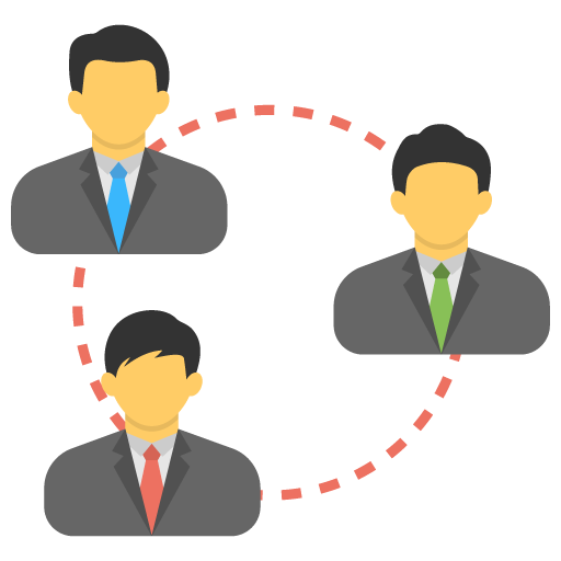 Flat icon of three businessmen united in a circle